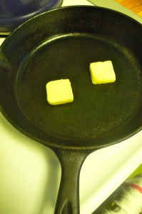 Earth Balance in an iron skillet